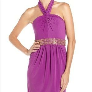 NWT Laundry Halter Dress with Gold Accent